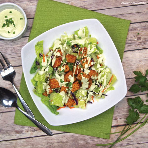 Buffalo Tempeh Salad With Cashew Ranch Dressing